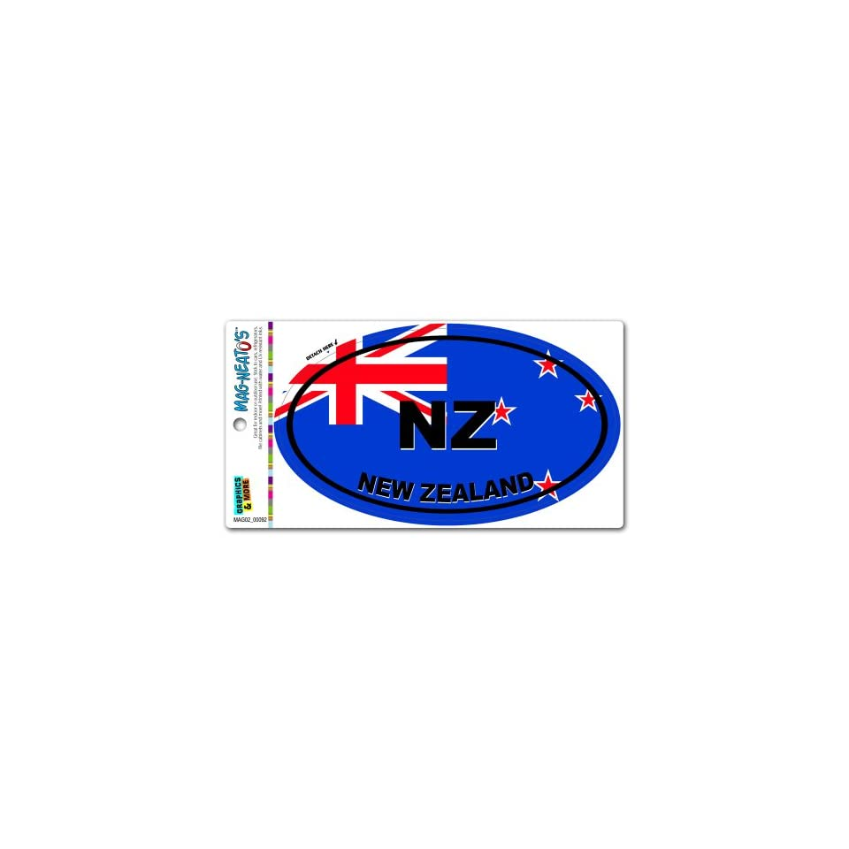 New Zealand Country Flag   NZ Euro Oval Flag MAG NEATOSTM Automotive Car Refrigerator Locker Vinyl Magnet