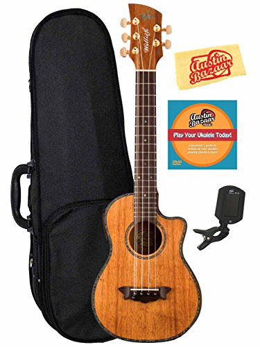Oscar Schmidt Ouwk100K Willie K Signature Acoustic-Electric 5-String Hawaiian Koa Tenor Ukulele Bundle With Hard Case, Tuner, Instructional Dvd, And Polishing Cloth