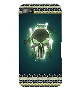 PrintDhaba Skull D-2521 Back Case Cover for BLACKBERRY Z10 (Multi-Coloured)