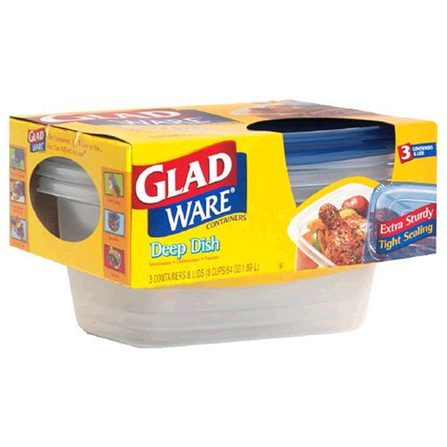 GladWare Deep Dish Containers with Lids, 8 Cups (64 oz) 3 containers (Glad Storage compare prices)