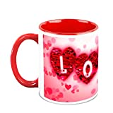 Valentine Day Gifts HomeSoGood Love On Valentine's Day White Ceramic Coffee Mug - 325 Ml