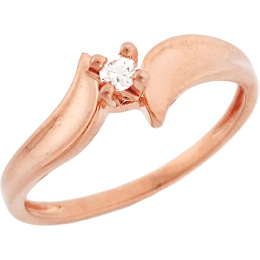 14ct Solid Rose Gold Diamond Solitaire Promise Ring