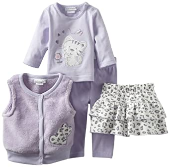 Babyworks Baby-Girls Newborn 4 Piece Mix And Match Cheetah Clothing Set, Lilac, 0-3 Months