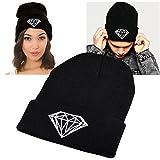 INSTEN® Unisex Knit Hip-hop Beanie Hat, Black with Diamond