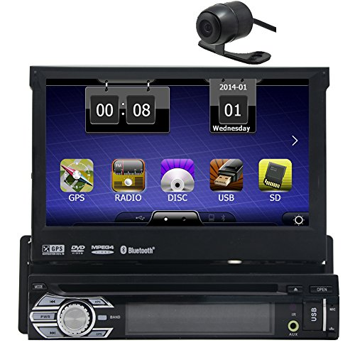 Backup Camera is include Eincar Universal Single 1 DIN 7 inch Motorized HD Touchscreen Car Stereo Autoradio GPS CD DVD Player Receiver, Bluetooth, Detachable Front Panel Wireless Remote (Dvd Player For Car Motorized compare prices)