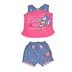 Baby Bucket Premium Summer suit Mickey Mouse Print on Sleeveless Top with Half Pant (Pink, 18-24 Years)