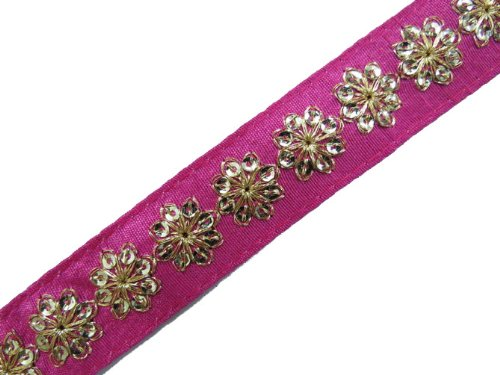 1 Y Thin Pink Base Sequin Trim Craft Border Ribbon Lace Sewing