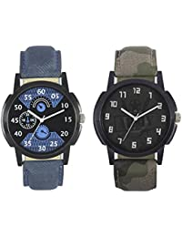 Rage Enterprise New Fashion 002-003 Fast Selling 2 Combo Branded Leather Analog Watch - For Boys And Men Analog...