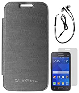 DMG Premium Flip cover for Samsung Galaxy Ace NXT SM-G313H (Black) + Black Earphones + Matte Screen