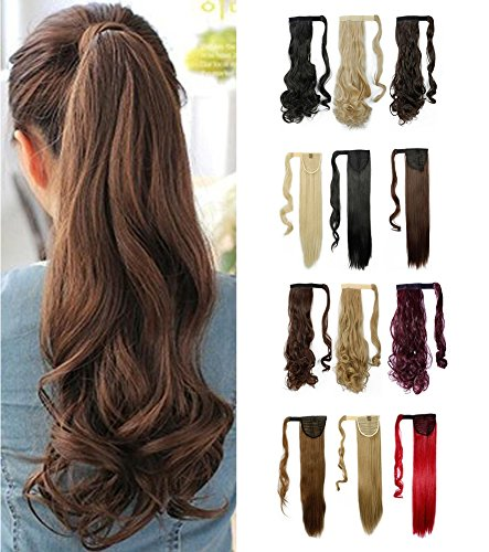 Wrap Around Synthetic Ponytail One Piece Heat Resistant Magic Paste Pony Tail Long Wavy Curly Soft Silky for Women Lady Girls 24'' / 24 inch (medium brown) (Hair Ties Real Hair compare prices)