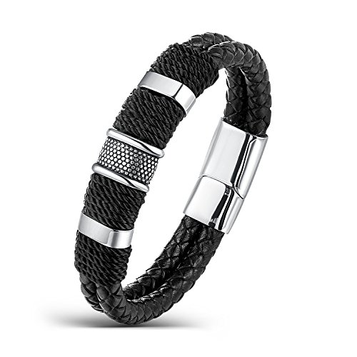 Areke Punk Rock Charms Bangle Bracelets For Mens,Braided Wrist Leather Bracelet Stainless Steel Clasp Item Length 8.0 inch (Steel And Jelly Men compare prices)