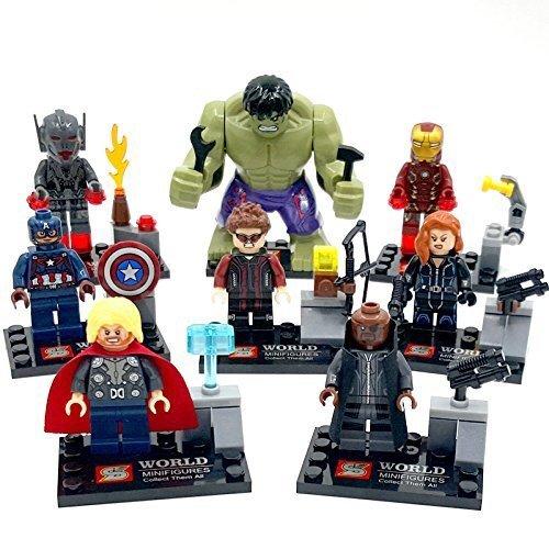 Avengers Age of Ultron 8 Piece Minifigure Set Ultimate Ultron, Hawkeye, Hulk, Thor, Captain America, Iron Man, Nick Fury, Black Widow by China