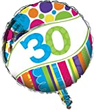Creative Converting Bright And Bold 30th Birthday 2 Sided Round Mylar Balloon By Creative Converting
