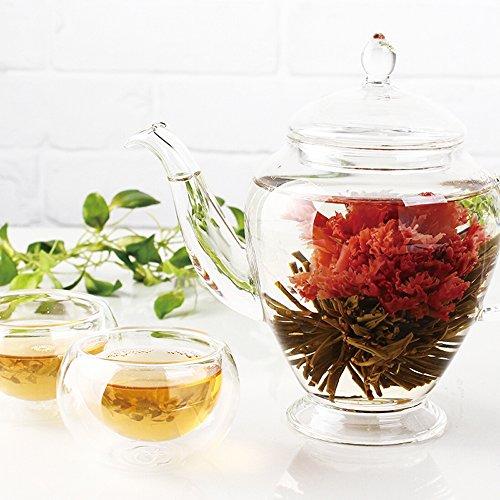 TEATSIGHT(ティートサイト) 工芸茶ギフトB 「工芸茶10粒&王妃のティーポット&二層茶杯(ティーカップ)2客」 お湯を注ぐと花が咲くお茶