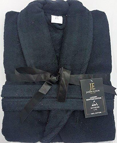 Herren Damen Unisex Ägyptische Baumwolle Frottee Bademantel Bademantel, schwarz, S/M