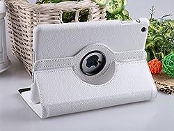Kolorfish iRotation 360 Degree Rotate Auto Wake up/Sleep Sensor Leather Flip Case Cover for Apple iPad Mini, iPad Mini 2, iPad Mini 3 (White)