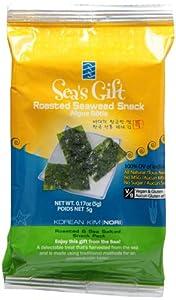Sea's Gift Korean Seaweed Snack (Kim Nori), Roasted & Sea Salted, 0.17-Ounce Bags (Pack of 24)