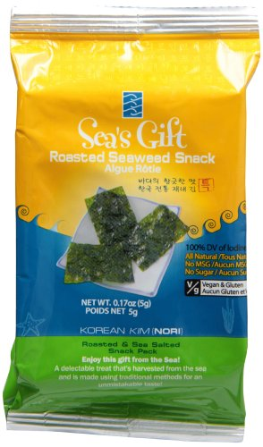 Sea's Gift Korean Seaweed Snack (Kim Nori), Roasted & Sea Salted, 0.17-Ounce Bags (Pack of 24) image