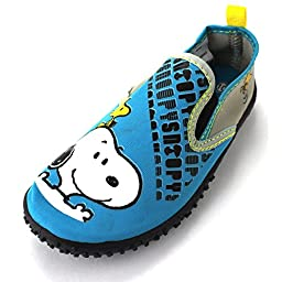 Peanuts Snoopy Boys Teal Aqua Socks Water Shoes (9 M US Toddler)