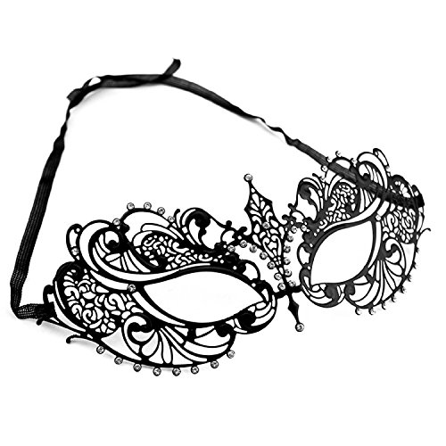 Laser Cut Metal Venetian Pretty Masquerade Mask w/ Clear Rhinestones (Black) - 1