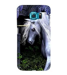 White Unicorn 3D Hard Polycarbonate Designer Back Case Cover for Samsung Galaxy S6 :: Samsung Galaxy S6 G920