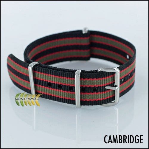 Regimental NATO Strap 20mm James Bond Service Black,Red and Grey