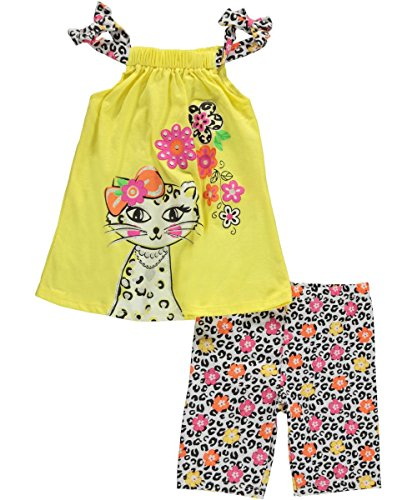 "Nannette Little Girls' Toddler ""Glamour Cat"" 2-Piece Outfit - yellow, 4t"