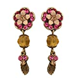 Michal Negrin Earrings with Hand-Painted Flowers, Leaves, Beads, Fuchsia and Beige Swarovski Crystals - Victorian Style
