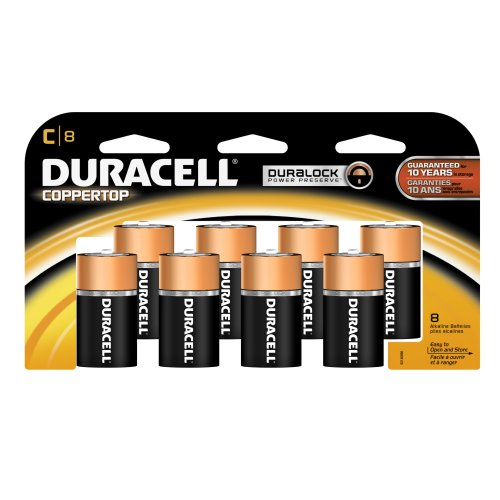 Coppertop Alkaline Batteries, C, 8/Pack