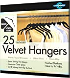 Closet Complete Ultra Thin No Slip Velvet Hangers for Shirts and Dresses, Black, Set of 25