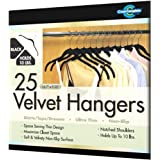 Closet Complete Ultra Thin No Slip Velvet Hangers for Shirts and Dresses, Black, Set of 25 ~ Closet Complete