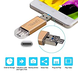 Phone Memory Uppel 32G OTG Phone USB Flash Memory Drive with Micro USB + USB C + USB3.0 Three in One Backup Storage Memory Expansion for Computer USB C devices Android Phone with OTG Function (32G)