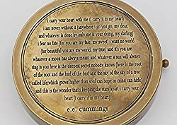 Personalise Compass with Romantic Poem I Carry Your Heart with Thoreaus Quote Stamped Leather Case .FREE ENGRAVING.