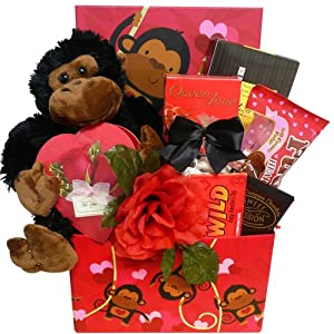 Art of Appreciation Gift Baskets I'm Wild About You Valentine's Day Care Package Gift Box with Plush Monkey