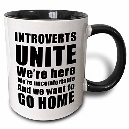 3dRose Introverts Unite Were Here Were Uncomfortable Black - Two Tone Black Mug, 11oz (mug_223786_4), 11 oz, Black/White