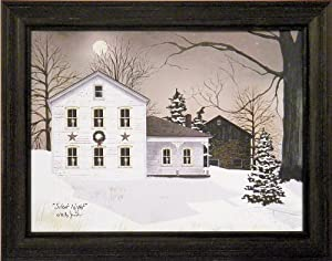 Silent Night by Billy Jacobs 15x19 Winter Night Snow Farmhouse Barn Landscape Country Primitive Folk Art Print Wall Décor Framed Picture