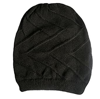 A168 Unisex Oversized Knit Baggy Beanie Hat Cap Cable Knit Hat / 4 styles and 5 colours (Z-Baggy-Black)