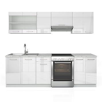 Kuchenzeile 240 cm - 7 Schrank-Module frei kombinierbar - Kuche Kuchenblock Einbaukuche – Hochglanz (Weiß Hochglanz)