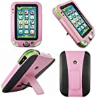 Evecase Kid-Friendly Faux Leather Case Cover with Built-in Stand for LeapFrog LeapPad Ultra Learning Tablet - Pink / Black