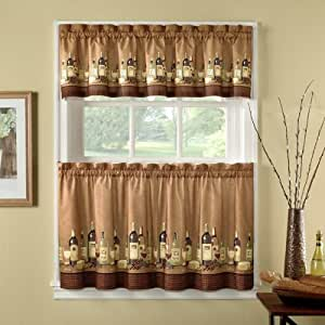 36 Inch Length Wines Tailored Tier Curtain And Valance Set By Chf Industries Home