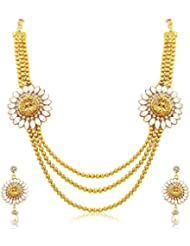 YouBella Jewellery Gold Plated Traditional Laxmi Necklace Set / Jewellery Set With Earrings For Girls And Women