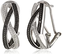"Sterling Silver White and Black Diamond ""S"" Shape Intercrossed Omega Back ""J"" Hoop Earrings (0.02 Cttw, H-I Color, I2 Clarity) from Max Color, LLC"