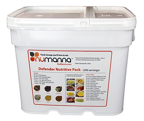 NuManna 200 Meals, Emergency Survival Food Storage Kit, Separate Rations, In A Bucket, 25+ Year Shelf Life, GMO-Free