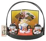 招き猫大将(供揃)白磁<br>(陶器/五月人形)