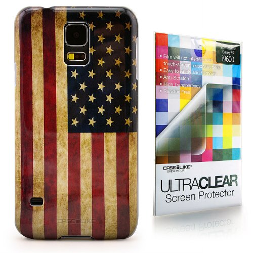 CaseiLike ® USA American Flag retrò Vintage, Snap-on duro indietro cover per Samsung Galaxy S5 i9600 i9605 con Screen Protector