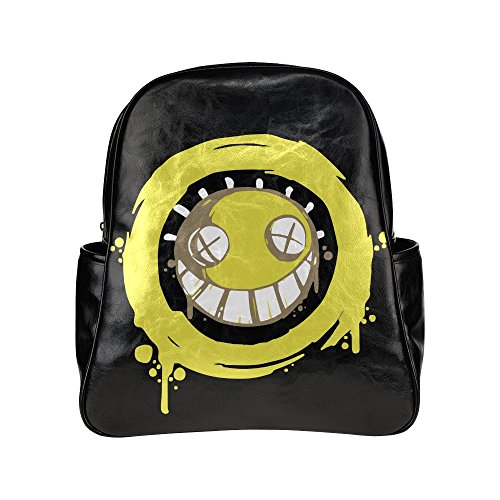 Junkrat Smiley Unisex Pu Leather Computer Laptop Backpack, Travel Bag Hiking Knapsack,School College Student Backpacks Shoulder Bags for Women/Girls,Men/Boys