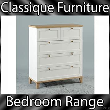 Arcadia Ash White 3+2 Bedroom Chest of 5 Drawers