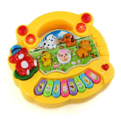 Sannysis 1Pc Lovely Hot Selling Useful Popular Baby Kid Animal Farm Piano Music Toy Developmental (Yellow) front-108306