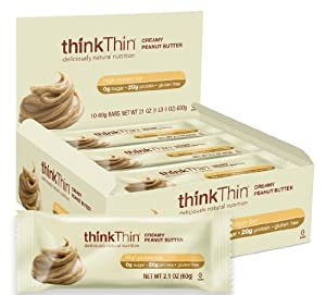 thinkThin Creamy Peanut Butter, Gluten Free, 2.1-Ounce Bars (Pack of 10)