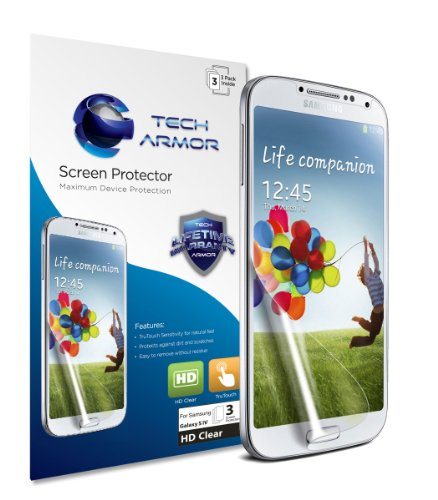Tech Armor Samsung Galaxy S4 SIV Premium High Definition (HD) Clear Screen Protectors with Lifetime Replacement Warranty [3-Pack] &#8211; Retail Packaging